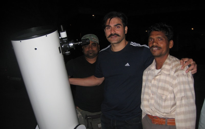 Arbaaz Khan checks out the night sky through the telescope at Ravine Hotel.