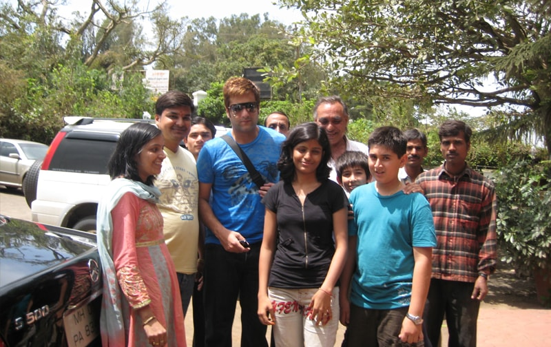 Fardeen Khan at the Ravine Hotel entrance, with Hisham and friends.